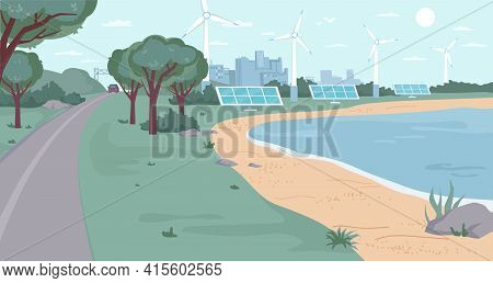 Eco City With Renewable Energy Sources Flat Cartoon Design. Vector Ecology Friendly Environment, Win