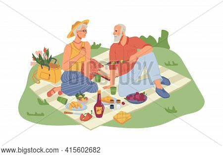 Picnic On Nature, Mature Man And Woman Sitting On Blanket With Wine. Vector Fruits And Vegetables ,