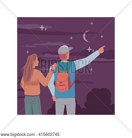 Night, Young Man And Woman Couple Back View Looking At Starry Sky, Dreaming And Investigating Moon A
