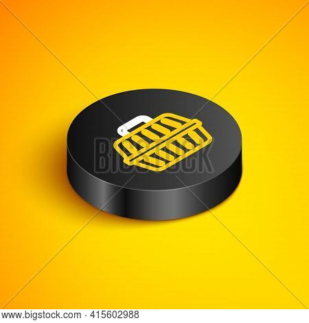 Isometric Line Pet Carry Case Icon Isolated On Yellow Background. Carrier For Animals, Dog And Cat.
