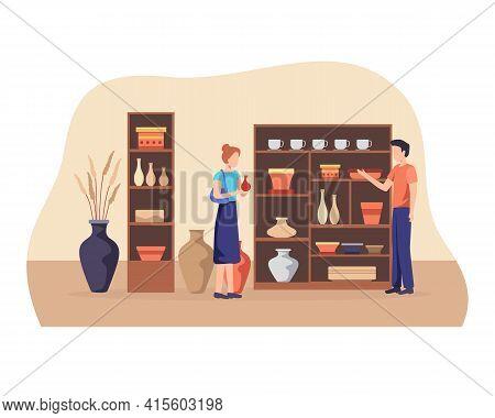 Ceramics Shop Vector Illustration