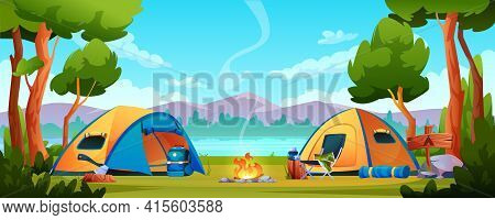 Campfire, Camping Hiking Tents Forest Nature Scenery, River Or Lake, Mountains On Background. Vector