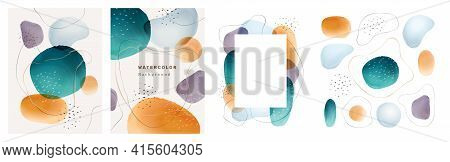 Brochures Cover Abstract Watercolor Design Elements Isolated Backgrounds Set. Vector Presentation Co