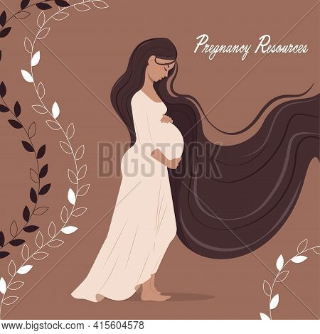 Happy Pregnant Woman Holding Her Belly, Type Of Resources For Pregnancy, Slim Pregnant Women, Flat C