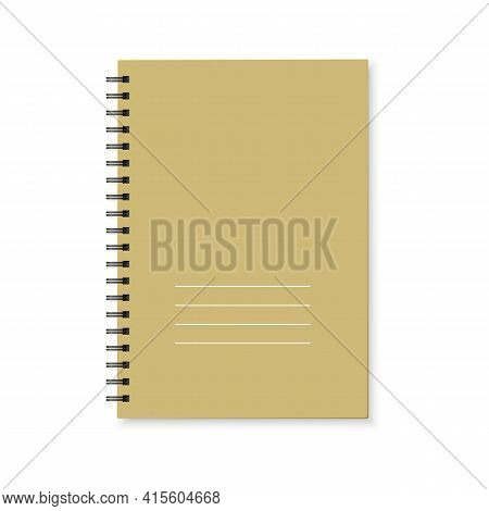 Notebook With Color Cover And Spiral Binding. Realistic Copybook On White Background. Vector