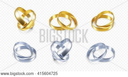 Set Of Silver And Golden Wedding Rings. Realistic Render Of Platinum And Gold Rings. Vector