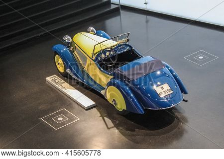 Germany, Munich - April 27, 2011: Bmw 315 Roadster In The Exhibition Hall Of The Bmw Museum. The Car