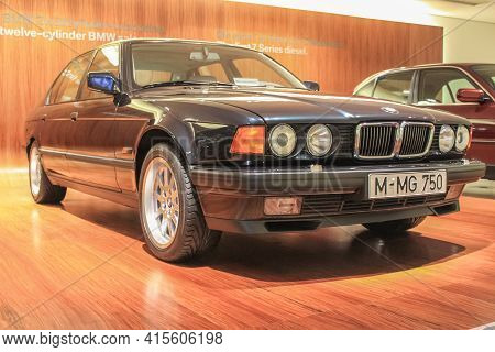 Germany, Munich - April 27, 2011: Bmw 750 In The E32 Body In The Exhibition Hall Of The Bmw Museum.