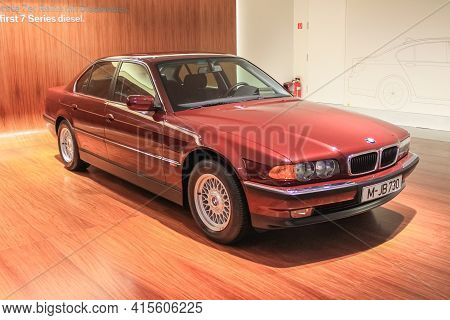Germany, Munich - April 27, 2011: Bmw 730 In The Body Of The E38 In The Exhibition Hall Of The Bmw M