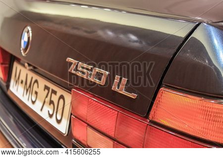 Germany, Munich - April 27, 2011: Nameplate 750i On The Bmw E32 Model In The Exhibition Hall Of The