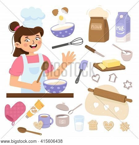 Girl Cooking In Kitchen. Little Baker. Kitchen Tools Isolated On A White Background. Little Cook Mix