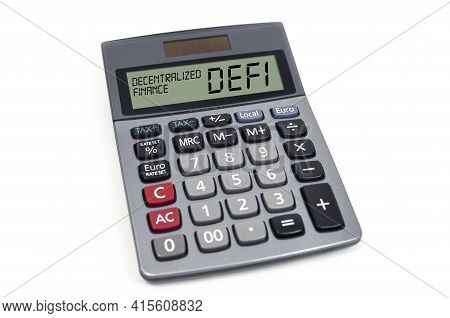 Calculator With Acronym Defi - Decentralized Finance Ob White Background
