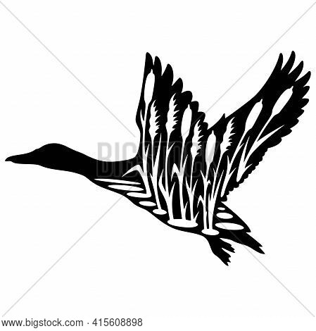 Duck Hunting - Wildlife Stencils - Duck Silhouette, Wildlife Clipart Isolated On White