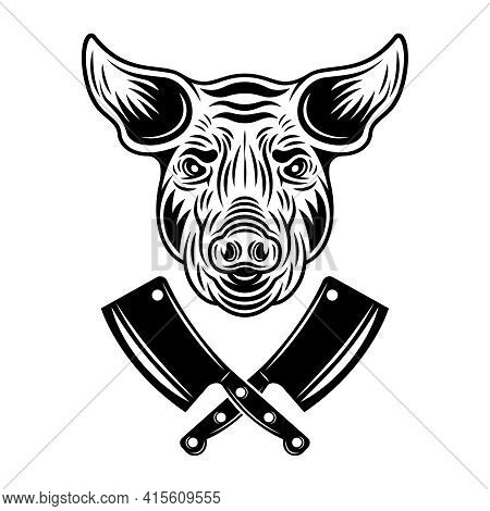 Pig Head And Two Crossed Meat Cleavers Vector Monochrome Illustration In Vintage Style Isolated On W
