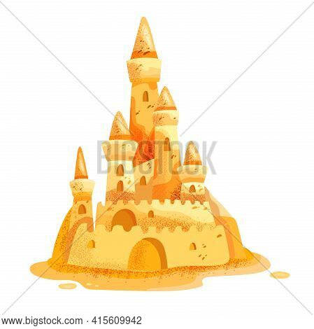Sand Castle Vector Summer Beach Cartoon Illustration Isolated On White, Yellow Big Shore Sculpture.