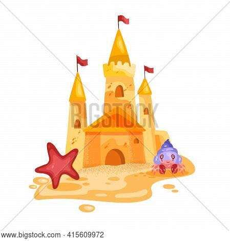 Sand Castle Vector Illustration, Toy Fortress Cartoon Summer Beach Sculpture, Crab, Red Star, Flags.