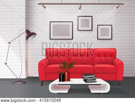 Contemporary Simple Clean Living Room Interior Design Detail With Stunning Leather Red Sofa Accent R