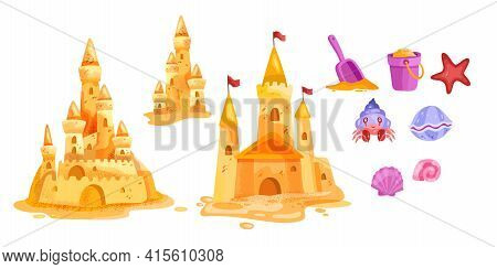 Sand Castle Vector Beach Isolated Illustration Collection, Toy Bucket, Shovel, Red Star, Cute Crab,