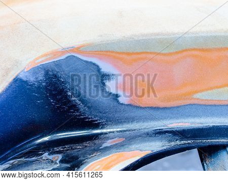 Repair Of Paintwork On Cars. Car Surface Treated With Abrasive Material For Further Repair And Body