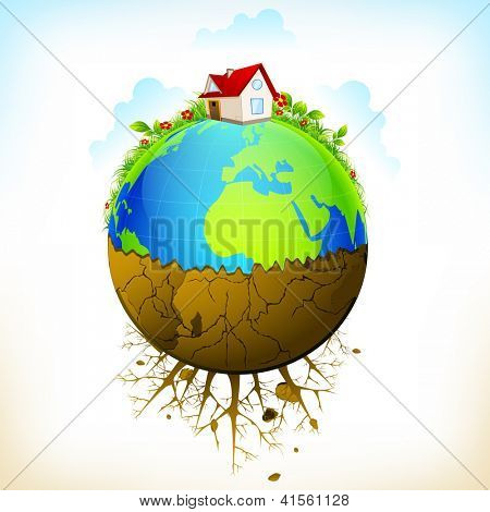 illustration of earth as green environment and distructed