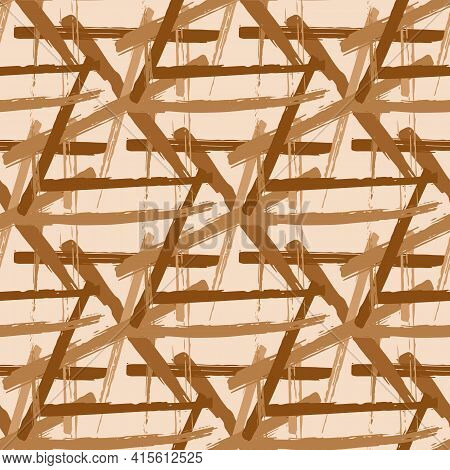 Vector Braid Effect Damask Weave Seamless Interlace Pattern Background. Macrame Style Ribbon Plait L