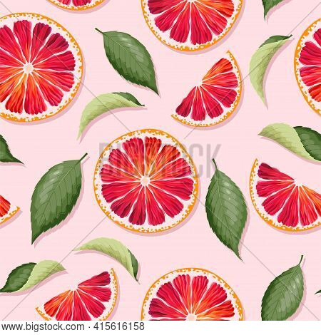 Vector Seamless Pattern With Grapefruits And Leaf