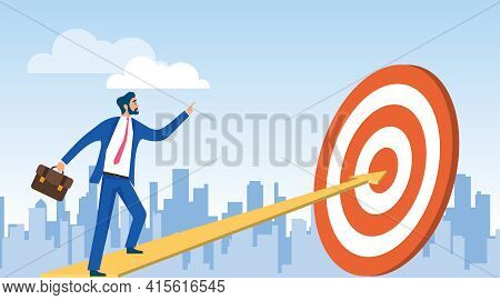 Career Ladder. A Man In A Business Suit Climbs The Career Ladder. Vector Illustration. Vector.