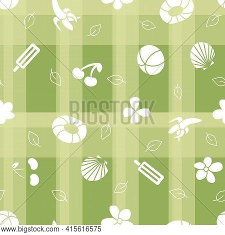 Vector summer green chequered seamless pattern background. Surface pattern design.