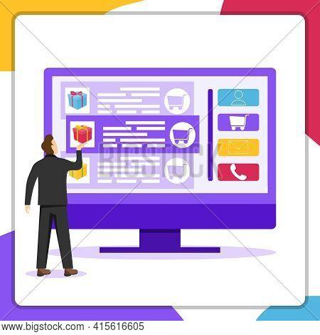 Online Ordering Of Goods. Online Ordering Of Goods Through A Computer. Vector Illustration. Vector.