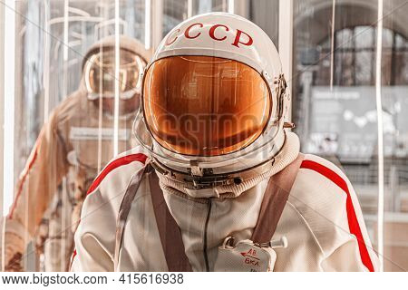 Moscow, Russia - November 28, 2018: Russian astronaut spacesuit Yastreb in Moscow space museum that was specially developed for early Soyuz space vehicle missions