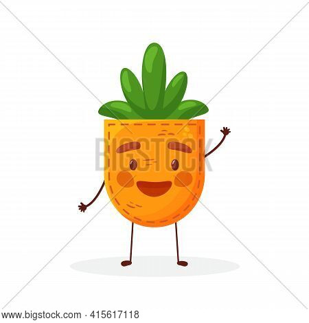 Carrot-shaped Patch Pocket. Character Pocket Carrot. Cartoon Style. Isolated On White Background. De
