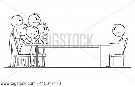 Negotiation Or Job Interview, One Man Sitting At Table Against Group Of Businessmen, Vector Cartoon