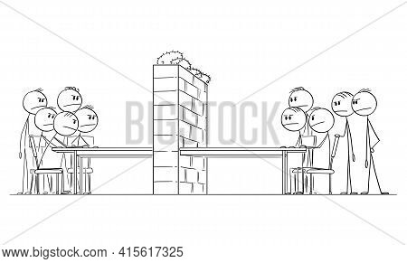 Negotiation Barrier, Two Groups Of Politician Or Businessmen Sitting At Table, Vector Cartoon Stick