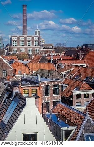View On Leiden With Old Power Plant Chimney
