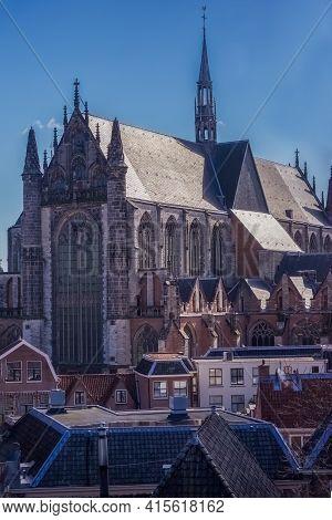 The Hooglandse Church; Late Gothic Basilica In Leiden ,netherlands