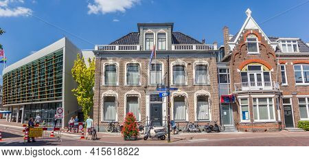 Assen, Netherlands - May 30, 2020: Panorama Of Old Houses In The Center Of Assen, Netherlands