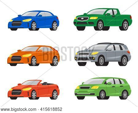 Set Of Different Cars. Automobile Variations In Cartoon Style.