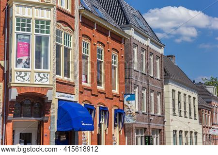 Assen, Netherlands - May 30, 2020: Colorful Facades Of Old Houses In Assen, Netherlands