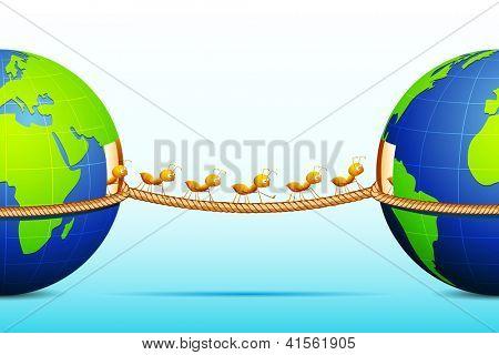 Abbildung über Ant verbinden zwei Welt Wandern am Seil