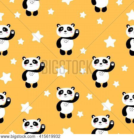 Seamless Pattern With Cute Panda Baby And Stars On Color Background. Funny Asian Animals. Card, Post