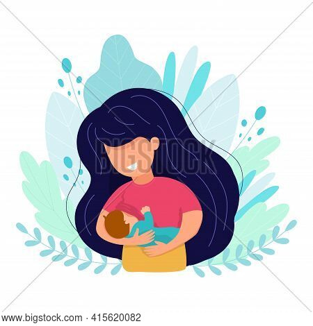 Beautiful Mother Breastfeeds Her Baby Child Holding Him In Hands. Breastfeeding Illustration. Mother