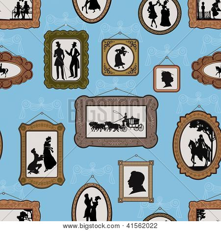 Background with pictures in vintage silhouette design in antique frames hanging on the wall