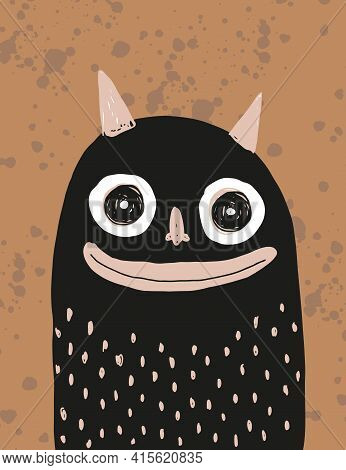 Funny Hand Drawn Halloween Vector Illustration With Cute Black Devil Isolated On A Brown Background.
