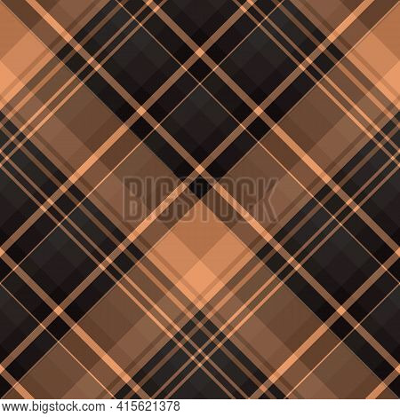 Seamless Pattern In Dark Gray And Light Brown Colors For Plaid, Fabric, Textile, Clothes, Tablecloth