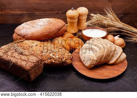 Bread Made From Wheat And Rye Flour. Shopping Food Supermarket Concept. Bakery Products. Various Bre