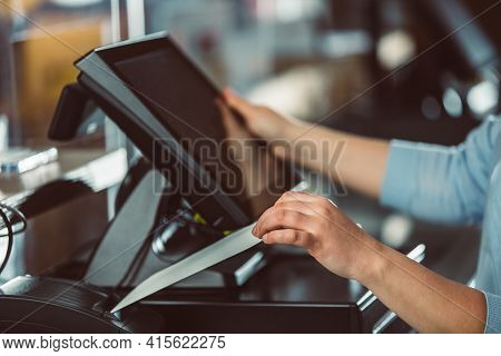 Process Of Printing Invoice For A Customer, Credit Card Processor, Receipt Printer With Paper Shoppi