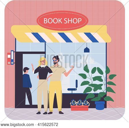 Young Couple Buy Books In Bookstore, Street Shop, Mall. Woman Stands With Man And Looks At Library