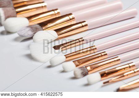 Elegant Kit Of New Cosmetic Brushes