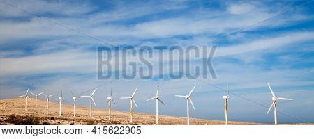 wind generators in fuerteventura lanscape of fuerteventura
