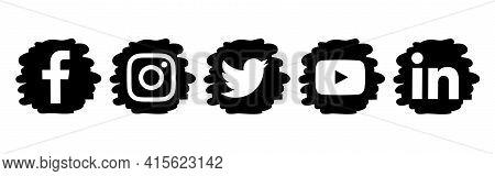Kiev, Ukraine - February 26, 2021: Popular Social Media Black Drops Icons, Printed On Paper: Faceboo